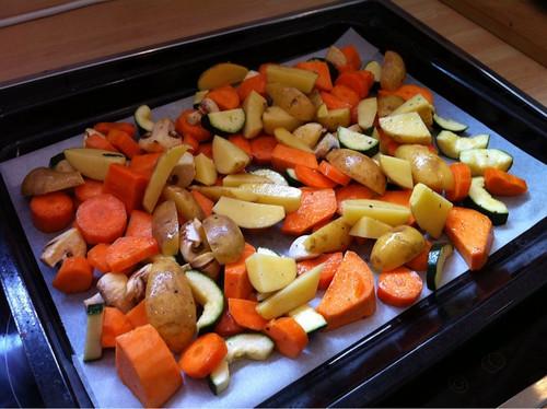 Gemüse auf dem Backblech