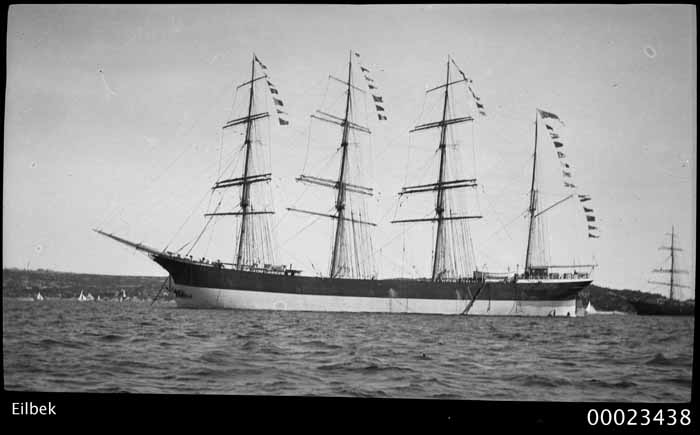 German barque EILBEK, anchored