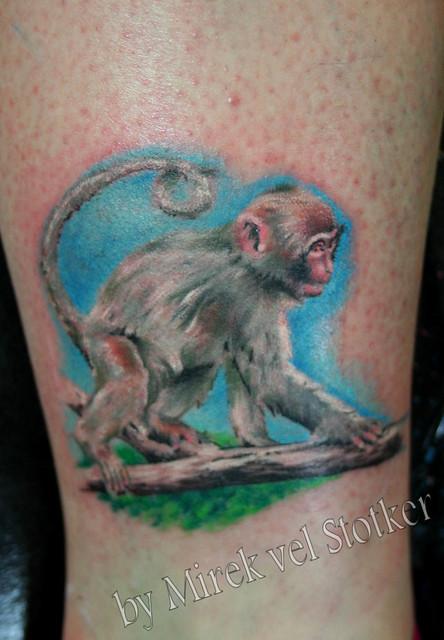 Baby monkey tattoo by mirek vel stotker flickr photo for Baby monkey tattoos