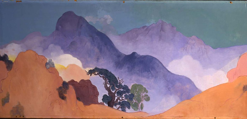 Stanton Macdonald-Wright: Mural for the Santa Monica Library: Prologue (mountain tops), 1934