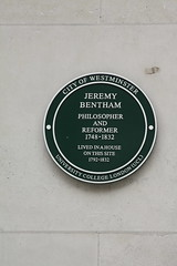 Photo of Jeremy Bentham green plaque
