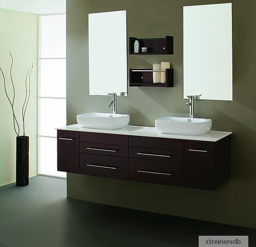 meuble salle de bain double vasques wenge marbre 619f. Black Bedroom Furniture Sets. Home Design Ideas