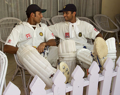 Dravid and Laxman after their famous partnership at Eden Gardens 2001