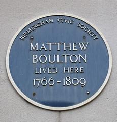 Photo of Matthew Boulton blue plaque
