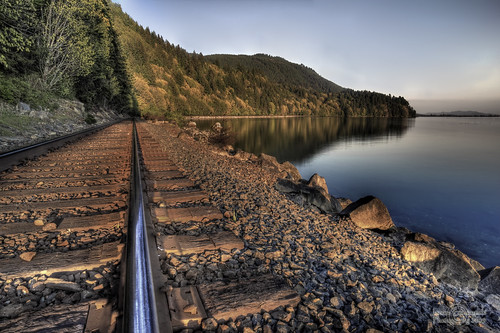 sunset geotagged rail shore washingtonstate railwaytrack hdr phototrip 722 chuckanutdrive janusz leszczynski scagitvalley bwgradient stayontherighttrack ribbonsofsteel peopleontracks geo:lat=48625194 geo:lon=122459675