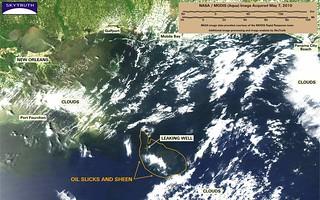 Deepwater Horizon Oil Spill – MODIS/Aqua Detail (with interpretation), May 7, 2010