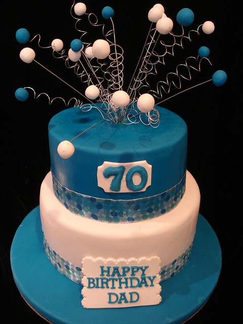 Happy 70th Birthday Dad Cake  Vanilla Cake with raspberry f ...