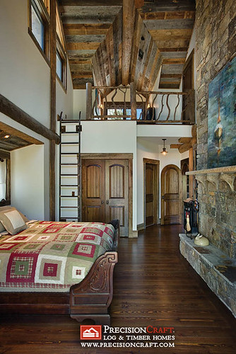 Master Bedroom with Loft | Interior | PrecisionCraft Log Homes