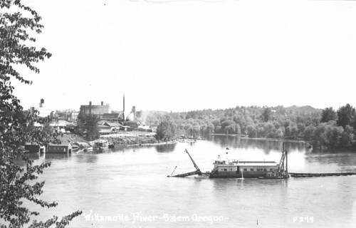 Dredge in Willamette River at Salem, Oregon