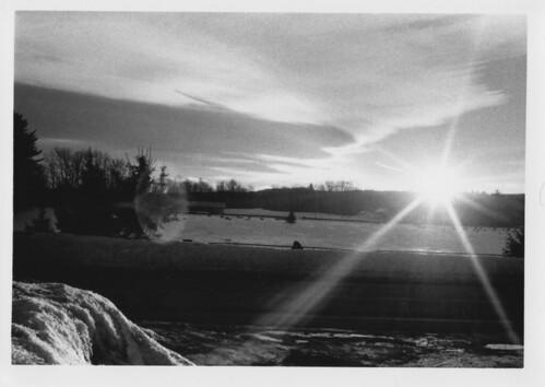 winter sunset bw cemetery 35mm maine rangefinder flare canonet