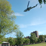 Marine Week Boston, 2010: Bell AH-1W SuperCobra attack helicopter flying away over Boston Common