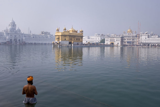 Devotee and Golden Temple