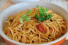 pasta(0.0), produce(0.0), pici(0.0), chinese noodles(0.0), capellini(0.0), carbonara(0.0), noodle(1.0), italian food(1.0), fried noodles(1.0), lo mein(1.0), spaghetti alla puttanesca(1.0), vegetarian food(1.0), bucatini(1.0), spaghetti(1.0), spaghetti aglio e olio(1.0), food(1.0), dish(1.0), cuisine(1.0), chow mein(1.0),