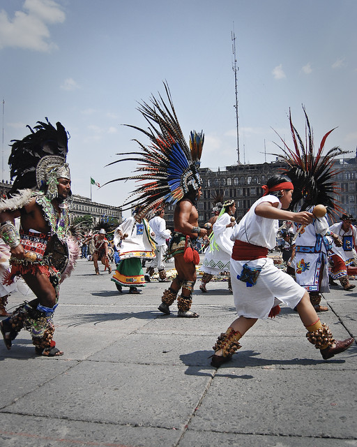 Zocalo Aztec dancers in Mexico City