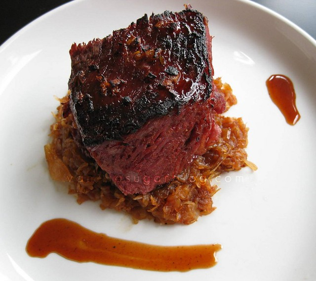 hoisin glazed corned beef with a hoisin & ginger reduction