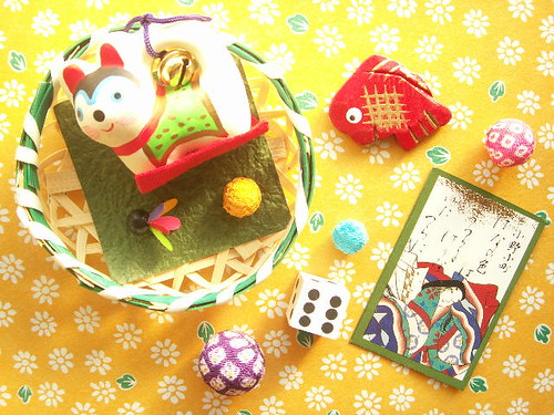 Kawaii Japanese Traditional Toys in Bamboo Basket Retro Japan