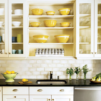 White kitchen open shelves subway tile flickr for Off the shelf kitchen units