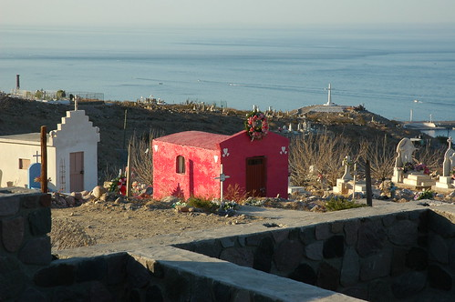 The pink heart masoleum, cross, cemetery, overlooking the Sea of Cortez, San Rosalita, Baja California Sur, Mexico by Wonderlane