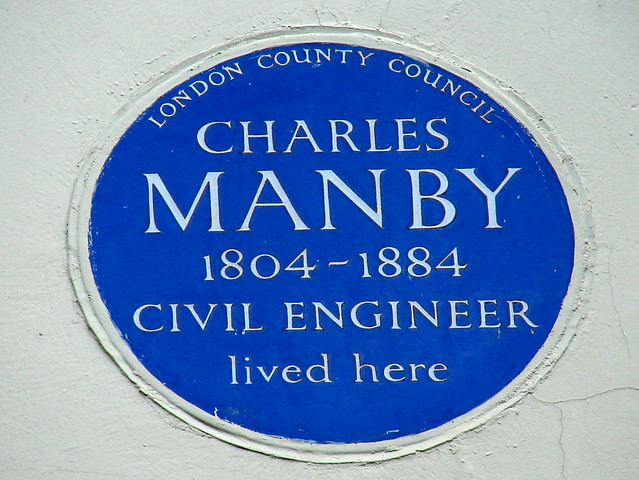 Charles Manby blue plaque - Charles Manby 1804-1884 civil engineer lived here
