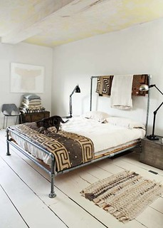 Morten Holtum via Skona Hem {white vintage industrial modern bedroom}