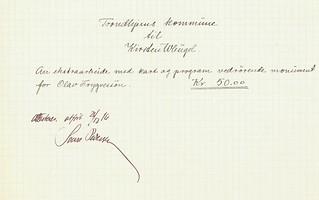 1916.12.21 - Kvittering til Kirsten Wleügel for arbeide med kart og program vedrørende Olav Tryggvason-monumentet