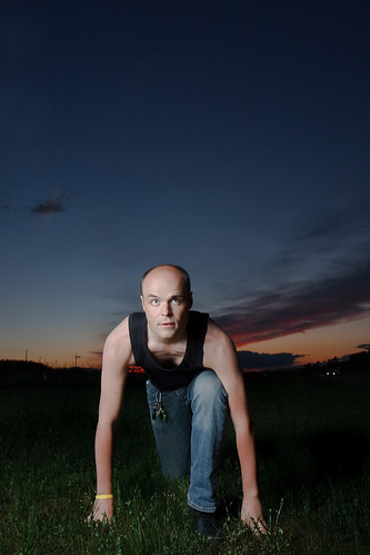 sunset portrait using strobe and ambient light