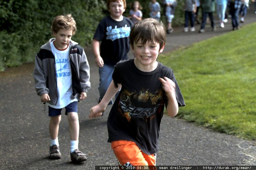 nick on his way to another lap in the jogathon
