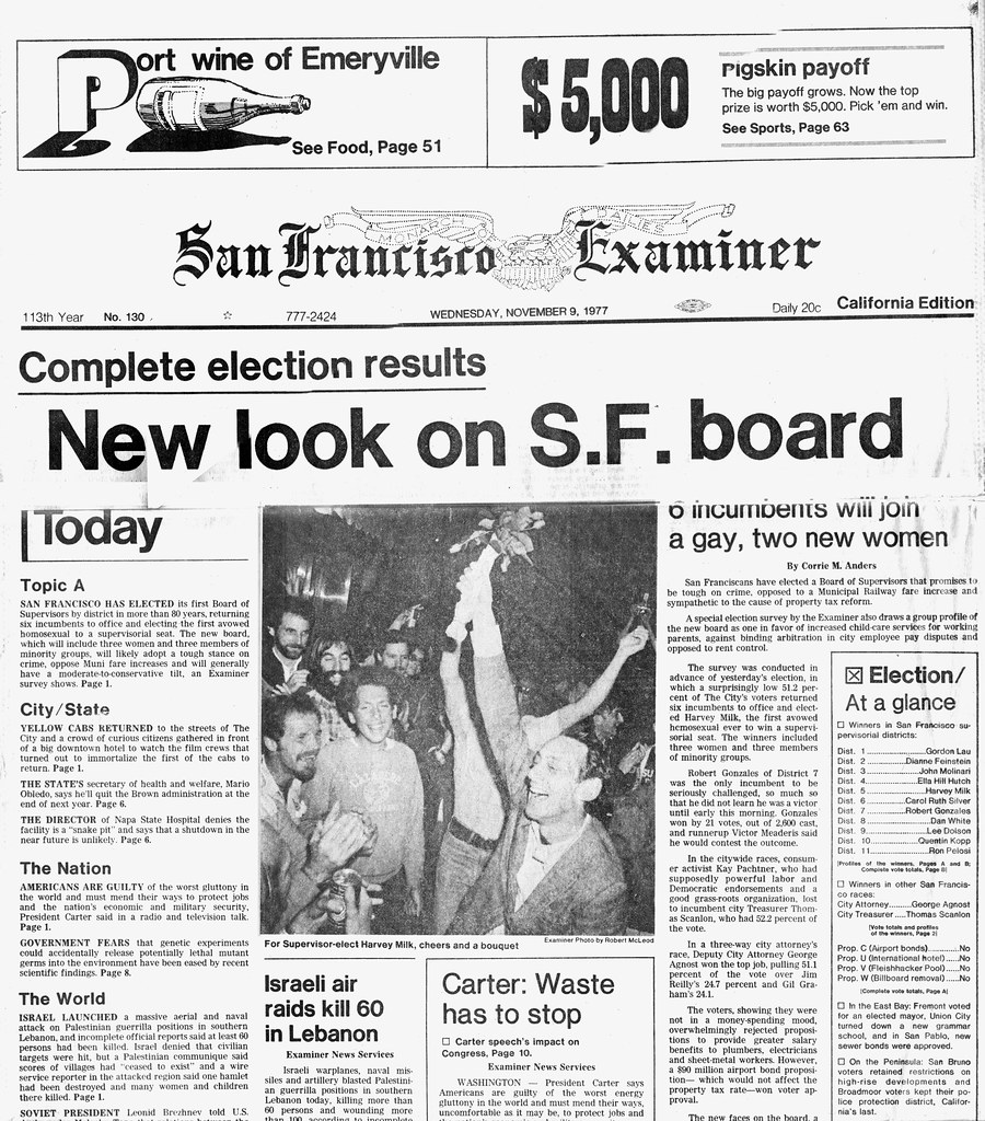 mr flikker s most interesting flickr photos picssr harvey milk elected sf examiner front page