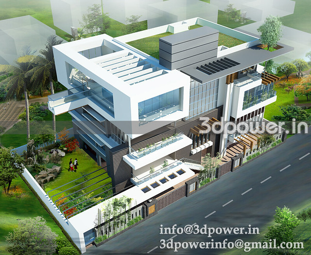 3d exteriour bungalow_www.3dpower.in_perspective of bungalow_villa_www .