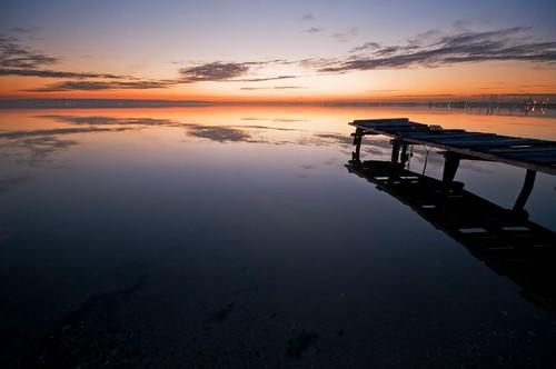 ocean sunset sea orange mer beach water clouds marseille nikon eau sigma reflexions pontoon ponton etang d300 berre vosplusbellesphotos