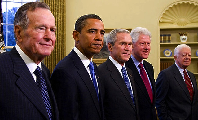 2009 Five Presidents George W. Bush, President Elect Barack Obama, Former Presidents George H W Bush, Bill Clinton, Jimmy Carter Portrait from Flickr via Wylio