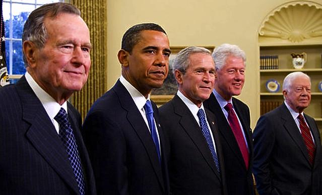 2009 Five Presidents George W. Bush, President Elect Barack Obama, Former Presidents George H W Bush, Bill Clinton, Jimmy Carter Portrait from Flickr via Wylio