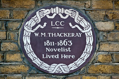 Photo of William Makepeace Thackeray brown plaque