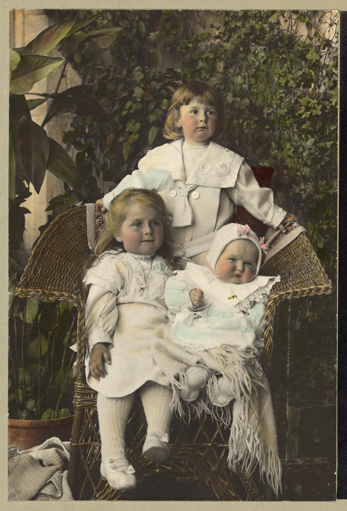 Vintage Portrait of a Family of Girl Sisters Children, Girls