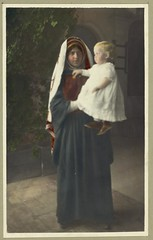 Vintage Portrait Photo Picture of a Sister hold a baby infant in her arms