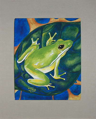 My latest tree frog painting. (acrylic on watercolor paper)