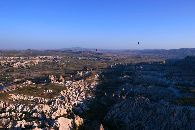 Up above Cappadocia in a hot air balloon, Turkey