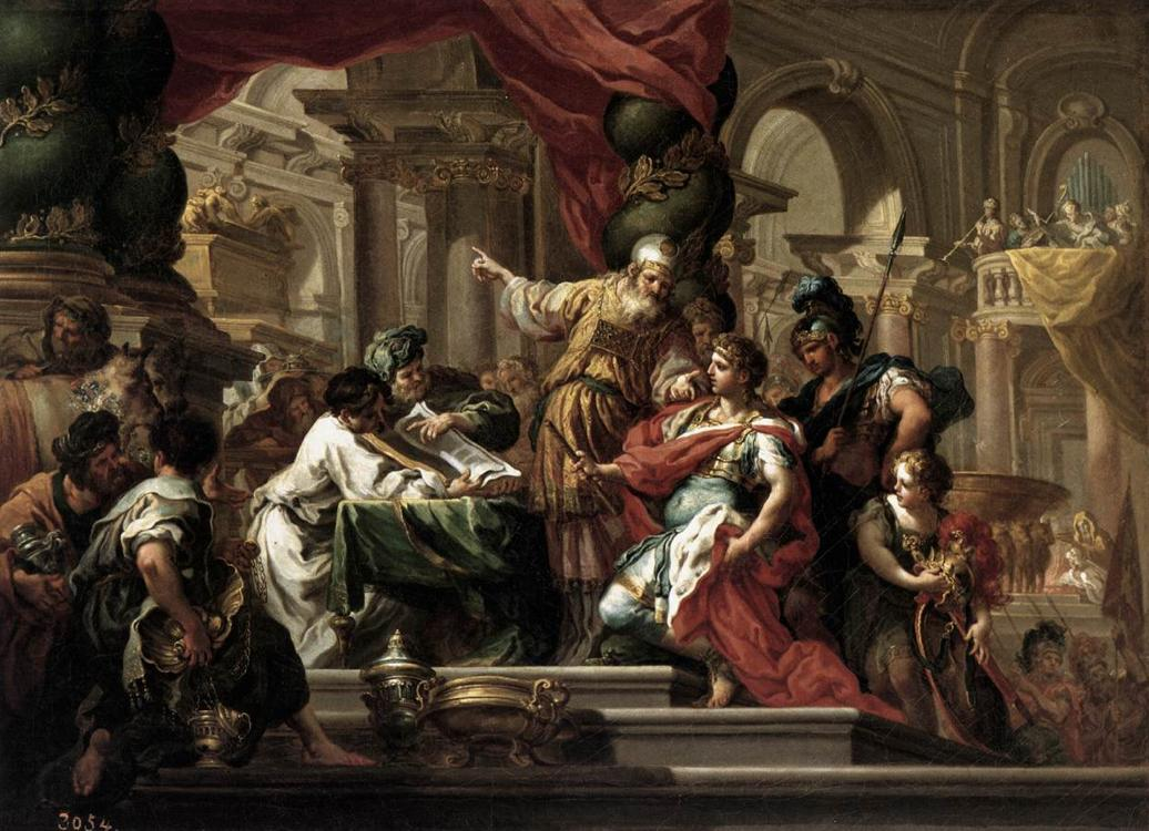 Conca, Sebastiano Alexander the Great in the Temple of Jerusalem 1735-37 Museo del Prado, Madrid