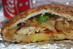 Chicken Cheese Foccachio Pita w/Sweet Onions