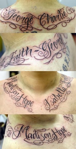 lettering on neck tattoo