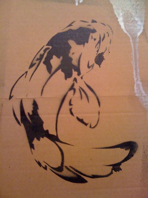 Koi stencil a little stencil design on cardboard first for Koi fish stencil