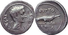 Sear-430  #0850-33 CAESAR COS VI Octavian Crocodile AEGYPTO CAPTA Denarius