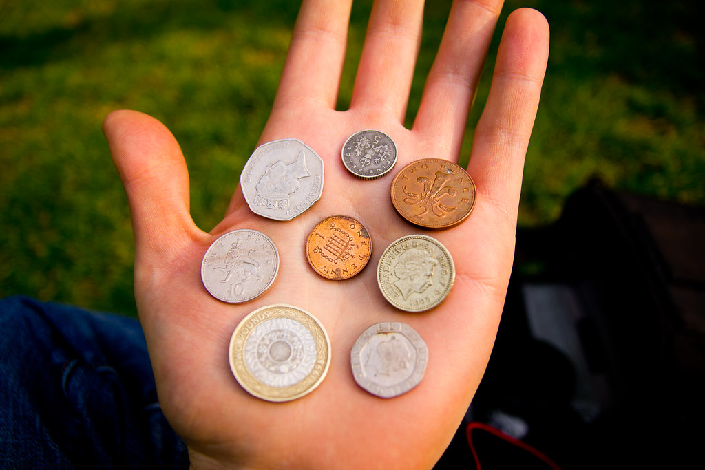 A handful of coins