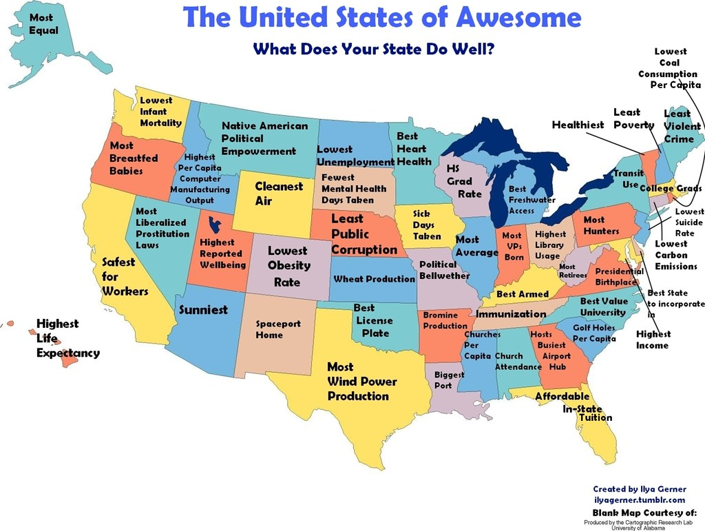 What every state in america is best at and worst at for Best cities in the united states
