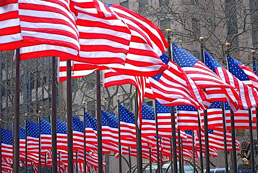 American Flags at Rockefeller Center, Viewing of Inauguration of President Barack Obama, Rockefeller Center