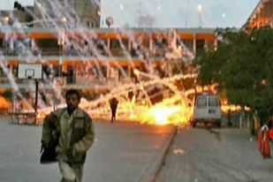 UN pictures show what appears to be white phosphorus 'wedges' raining down on one of its compounds in Gaza. by Pan-African News Wire File Photos
