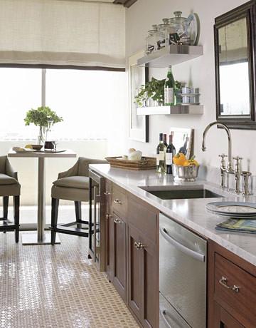 Elegant Modern White Kitchen Marble Counter Open