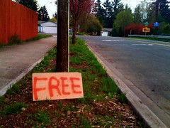 Free sign on the corner