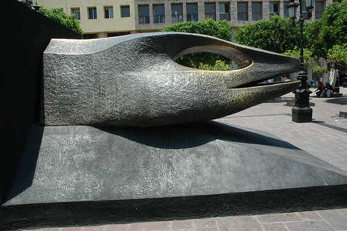 Snake head sculpture, side view, main square, Guadalajara, Jalisco, Mexico by Wonderlane