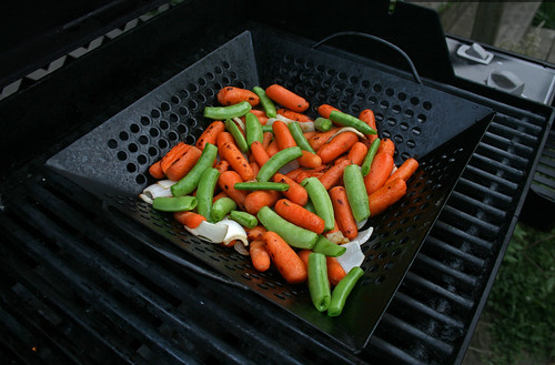 grilled carrots, snap peas, onions with rosemary